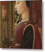 Portrait Of A Woman With A Man At A Casement Metal Print