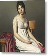 Portrait Of A Young Woman In White Metal Print by Jacques Louis David