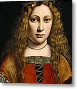 Portrait Of A Youth Crowned With Flowers Metal Print by Giovanni Antonio Boltraffio