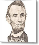 Portrait Of Abraham Lincoln On White Background Metal Print