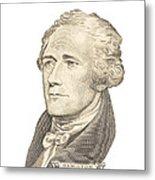 Portrait Of Alexander Hamilton On White Background Metal Print