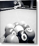Portrait Of An Awesome Pool Player Metal Print