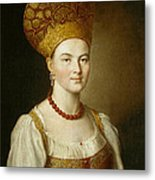 Portrait Of An Unknown Woman In Russian Costume Metal Print