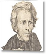 Portrait Of Andrew Jackson On White Background Metal Print