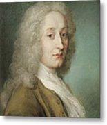 Portrait Of Antoine Watteau 1684-1721 Pastel On Paper Metal Print