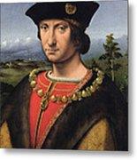 Portrait Of Charles Damboise 1471-1511 Marshal Of France Oil On Panel Metal Print
