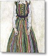 Portrait Of Edith Schiele, The Artists Metal Print