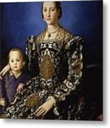 Portrait Of Eleanor Of Toledo With Her Son Giovanni De' Medici Metal Print