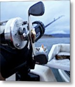 Portrait  Of Fishing Reel On Boat While Metal Print