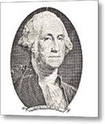 Portrait Of George Washington On White Background Metal Print