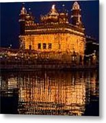 Portrait Of Golden Temple At Night Metal Print