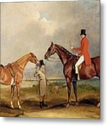Portrait Of John Drummond On A Hunter With A Groom Holding His Second Horse Metal Print