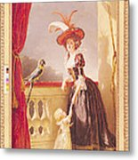 Portrait Of Louise-elisabeth De France 1727-59 Duchess Of Parma And Her Son Ferdinand 1751-1802 Metal Print