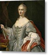 Portrait Of Maria Amalia Of Saxony As Queen Of Naples Overlooking The Neapolitan Crown Metal Print