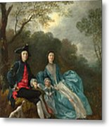 Portrait Of The Artist With His Wife And Daughter Metal Print