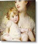 Portrait Of The Duchess Of St Albans With Her Son Metal Print