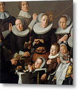Portrait Of The Painter Andries Van Bochoven And His Family Metal Print