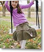 Portrait Of Young Girl On Swing Metal Print by Vast Photography