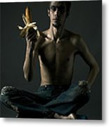 Portrait Of Young Man With Corn Cob Metal Print