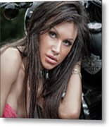 Portrait With Harley Metal Print