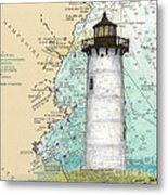 Portsmouth Harbor Lighthouse Nh Nautical Chart Map Art Metal Print