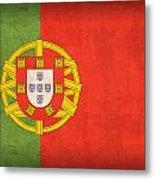 Portugal Flag Vintage Distressed Finish Metal Print
