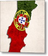 Portugal Map Art With Flag Design Metal Print