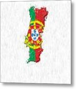 Portugal Painted Flag Map Metal Print