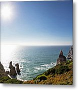 Portugal, View Of Praia Da Ursa Metal Print