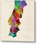 Portugal Watercolor Map Metal Print by Michael Tompsett