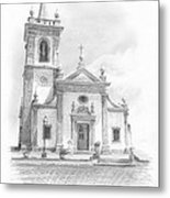 Portugese Church Pencil Portrait Metal Print