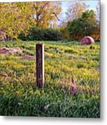 Post And Haybale Metal Print by Tracy Salava