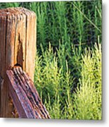 Post And Rail At Sunset Metal Print
