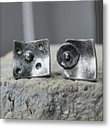 Post Stud Silver Unisex Earrings Metal Print