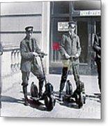 Postal Workers On Scooters Metal Print