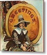 Postcard Of Pilgrim Plucking A Turkey Metal Print by American School