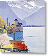 Poster Advertising Rail Travel Around Lake Geneva Metal Print