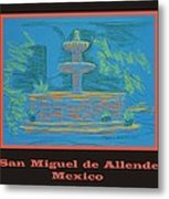 Poster - Blue Fountain Metal Print by Marcia Meade