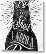 Poster Bottle Restaurant In Retro Metal Print