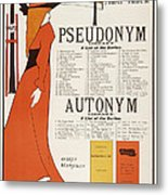 Poster For 'the Pseudonym And Autonym Libraries' Metal Print