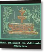 Poster - Green Fountain Metal Print by Marcia Meade