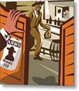 Poster Illustration Of An Outlaw Cowboy Metal Print