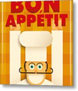 Poster With A Comic Chef. Vector Metal Print