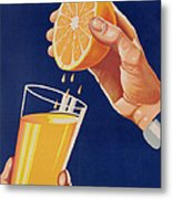 Poster With A Glass Of Orange Juice Metal Print