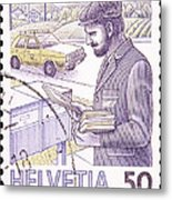Postman Delivering Mail  Metal Print