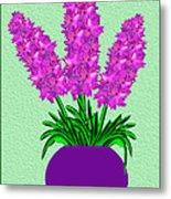 Pot Of Pink Flowers Metal Print