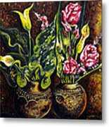 Pots And Flowers Metal Print