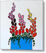 Potted Blooms - Blue Metal Print