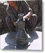 Potter At Work In Bhaktapur Metal Print