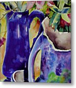 Pottery And Flowers Metal Print